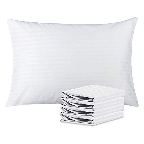 NTBAY Queen Lightweight Pillowcases Set of 4, 100% Brushed Microfiber, White Striped Design, White, Queen