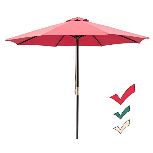 - SUNNYARD 9 Ft Wood Market Patio Umbrella Outdoor Garden Yard Umbrella with Pulley Lift, 8 Ribs, Red