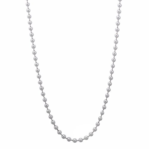 Solid 925 Sterling Silver 1.8mm Pallini Style Bead Italian Chain, (Bead Ss Beaded Chain)