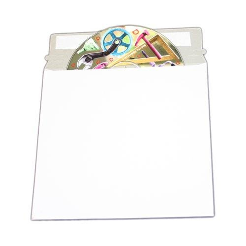 100 CD/DVD White Cardboard Mailers, Self Seal Mailers with Flap (6 x 6 3/8)