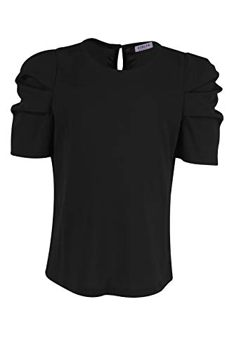 GORLYA Girl's Puff Sleeve Casual Solid T-Shirt Pullover Keyhole Back Blouse Tops for 4-14 Years 3