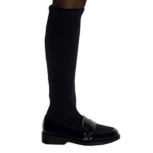 Mocassino Blu Cm Soft materiale Navy 3 Scarpa Boot Verniciata Fashion Bi Tacco Angkorly Slip Block Tallone on Donna qptwa11x