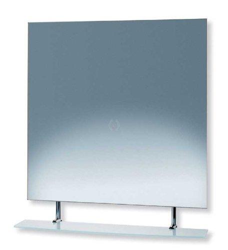 Price comparison product image LineaBeta Quadratischer Spiegel mit Ablage aus satiniertem und gehrtetem Glas Gestell aus Edelstahl ausf