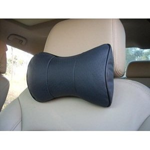 Cosmos–2-PCS-Black-Leather-Dog-Bone-Shape-Car-Neck-Pillowcushion-with-Cosmos-Fastening-Strap