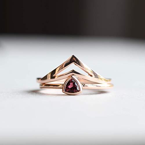 (Tourmaline Ring Set, 14k Solid Rose Gold, Pink Tourmaline, Engagement Ring, October Ring, Birthstone Ring, Trillion Ring, Engagement Ring, HRG022)
