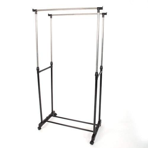 SL&VE Dual bar Vertical Horizontal Stretching Stand Clothes Rack with Shoe Shelf-Black by SL&VE (Image #5)