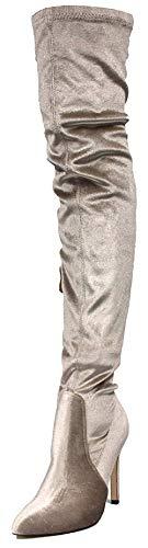 Cape Robbin GB23 Women Velvet Thigh High Pointy Toe Stiletto Boot GB63 - Champagne (Size: 6.0) (Velvet Thigh High Boots)