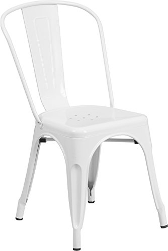 Amazoncom Flash Furniture Metal Chair White KitchenDining