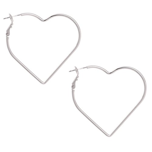 Silver Plated Heart Shape - Heart Shape with Gold or Silver Rhodium Plated Hoop Statement Earrings