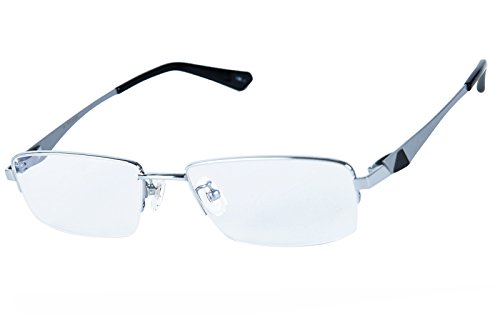 Agstum 100% Titanium Half Rimless Glasses Frame Optical Eyeglasses 53-18-140 - Free Eyeglass Frames Nickel