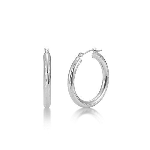 Full Diamond Cut 14k White Gold 3mm x 25mm Click Top Tube Hoop Earrings - By Kezef Creations