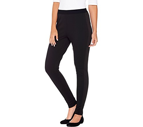 Lisa Rinna Collection Petite Knit Leggings Ribbed Panel Black Pxs New A280392