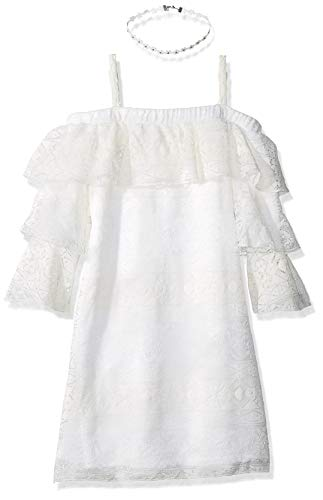Amy Byer Girls' Big Off The Shoulder A-Line Dress, White 19, 12 ()