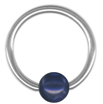 One Blue Imitation Pearl Captive Bead Ring-18g-5//16 inch-8mm-Ear Piercing Hoop Body Jewelry