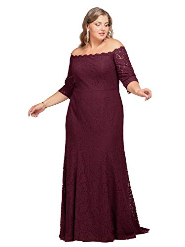 Alicepub Lace Wedding Formal Evening Dress Plus Size Long Special Ocassion Gowns for Women, Burgundy, US24