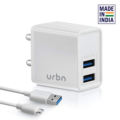 URBN 3.1Amp Dual Port Smart Charge Wall Adapter with 3 feet Fast Charging Micro Cable Included - (White)
