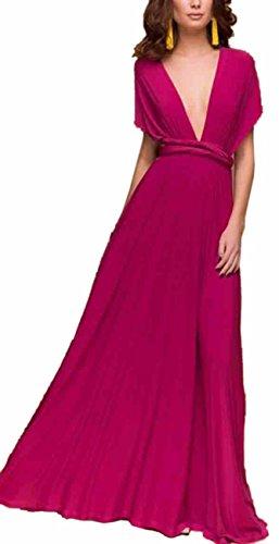 de Mujeres Rojo Cóctel Larga Dama Respaldo de Rosa Honor Noche EMMA Falda de sin Elegante Vestido gd4wz1xzq