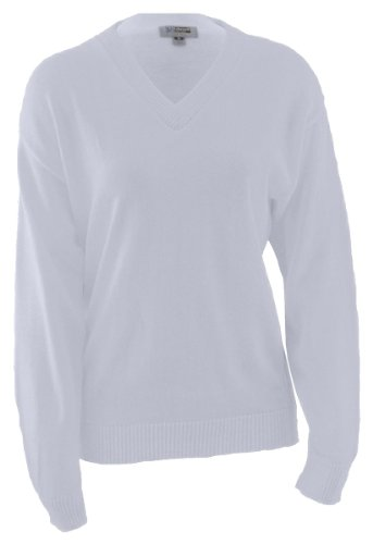 Edwards V-Neck Acrylic Sweater X-Small White]()