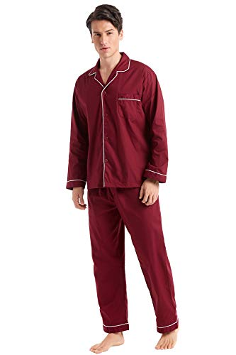 TONY AND CANDICE Men's Cotton Pajama Set, Long Sleeve Button-Down Woven Sleepwear (Burgundy with White Piping, Medium) (Classic Piping Pajama Set)