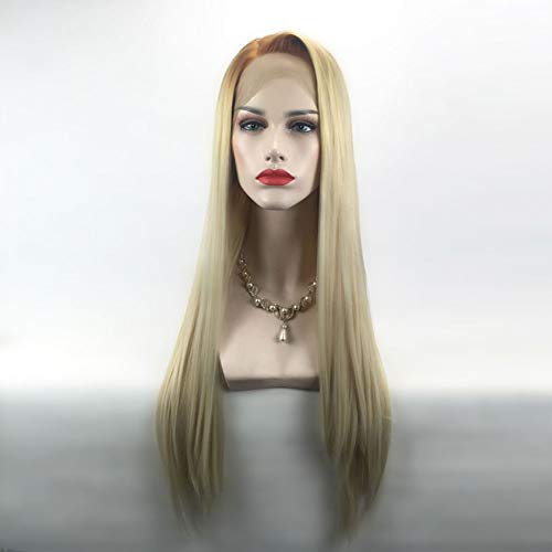 Wig Blond Long Straight Hair Blond Synthetic Natural Fluffy Heat Resistant Women Cosplay Halloween Party, 26 Inch ()