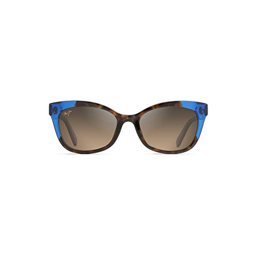 Maui Jim Ilima HS759-68 | Polarized Dark Tortoise with Electric Blue cateye Frame Sunglasses, with with Patented PolarizedPlus2 Lens Technology