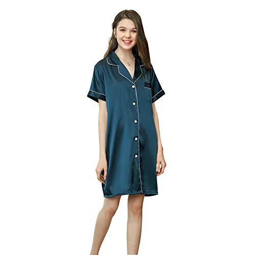 Belle Heure Women Pajamas Sleepshirt Dress Boyfriend Satin Nightshirt Buttondown ()