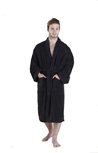 Gran nudo, 100% algodón egipcio 450 GSM albornoz cuello medio/grande,Blanco, M/L Negro