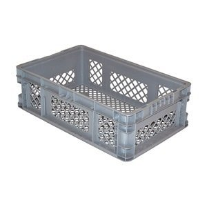 SSI SCHAEFER AF241507.WVGY1 Ventilated Straight-Wall Container, Polyethylene, Grey, Capacity 33 lb, 24'' Length x 7.5'' Width x 15'' Height