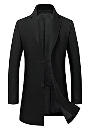 CMCYY Mens Winter Lapel Neck Single Breasted Pocket