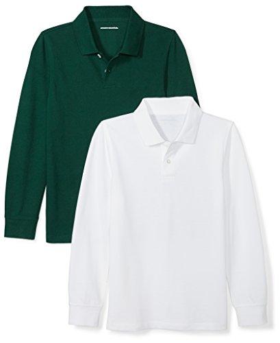 Amazon Essentials Big Boys' 2-Pack Long-Sleeve Pique Polo Shirt, White/Hunter Green, M (8)