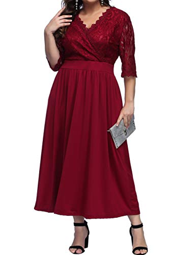 Women's Lace Plus Size Mother of The Bride Maxi Dress Bridal Wedding Party Maternity Floral Lace Dress ()