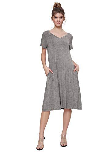 (Weintee Women's T-Shirt Dress V-Neck Casual Dress with Pockets L Heather Gray)