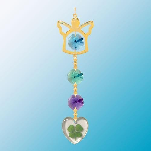 - 24K Gold Plated Hanging Sun Catcher or Ornament..... Angel Icon Hanging Charm With Heart Shaped Four Leaf Clover & Blue Swarovski Austrian Crystals