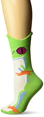 K. Bell Women's Wide Mouth Leg Eating Novelty Casual Crew Socks, Rainforest Frog (Green), Shoe Size: 4-10 ()