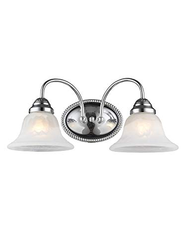 Livex Lighting 1532-05 Edgemont 2 Light Wall Sconce Chrome with White Alabaster Glass ()