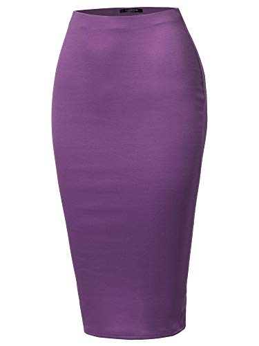 SSOULM Women's Stretchy Fitted Midi Pencil Skirt with Back Slit Plum L ()