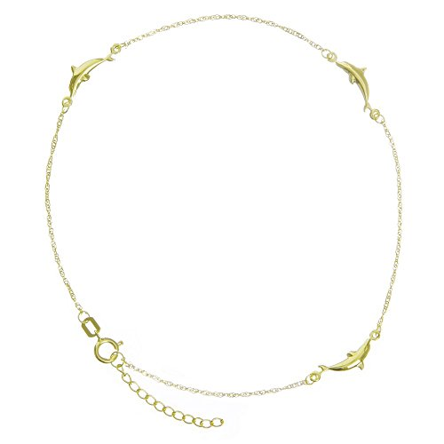 14k Yellow Gold Adjustable Dolphin Station Twist Singapore Chain Ankle Bracelet - 10 Inch
