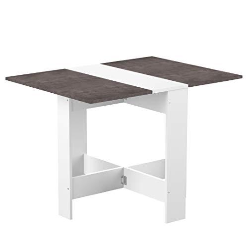 Temahome Mesa plegable contemporánea con 2 solapas plegables, tablero de partículas de melamina, color Blanco/Gris, 103…