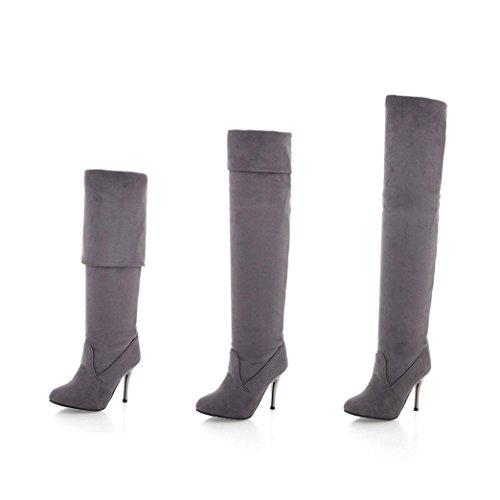 TPulling Herbst Und Winter Modelle Stiefelette Mit Hohen Absätzen Für Damen Einzelne Schuhe Grau