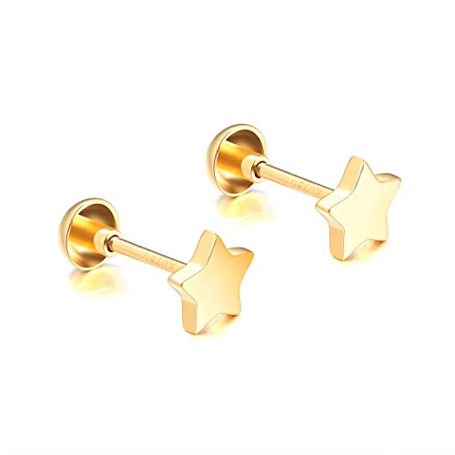 18k Gold Star Earrings for Girls Screw Back, Fine Jewelry Studs for Children Kids, 5MM (yellow-gold)