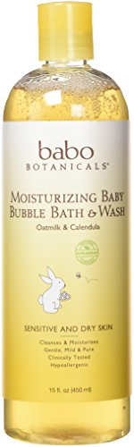 Babo Botanicals Moisturizing Baby Bubble Bath & Wash, 15 FL OZ - Natural and Organic Baby, Sensitive Skin, Dry Skin