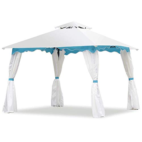 Tangkula 2 Tier 10'x10' Patio Gazebo Canopy Tent Steel Frame Shelter Awning W/Side Walls (Gazebo Tier 2)