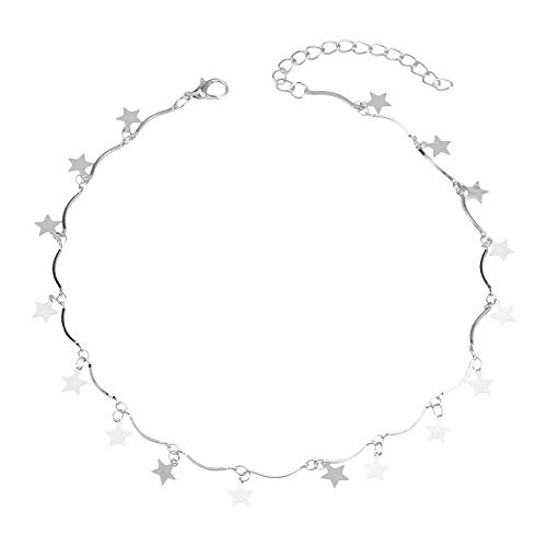Caopixx Necklace for Women Pendant Chain Tiny Star Maxi Chain Choker Tassel Necklaces Silver