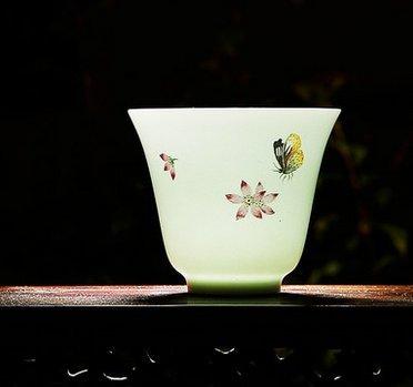 YFDS Kung Fu Taza de Té Taza de Cerámica Pintada a Mano Taza de Porcelana Blanca Mate
