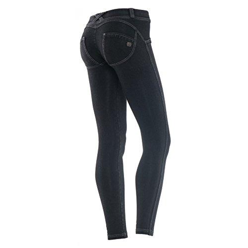 Freddy WR.UP mujeres cintura baja lavado oscuro flacucho efecto Denim Negro - negro/gris