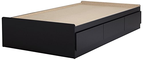 """South Shore Furniture 39"""" Fusion Mates Bed with 3 Drawers, Twin, Pure Black"""