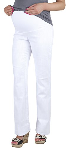 Trouser Maternity Jeans (Mija - Maternity Trousers / Jeans classic straight cut Denim Over Bump 3014 (12, White))