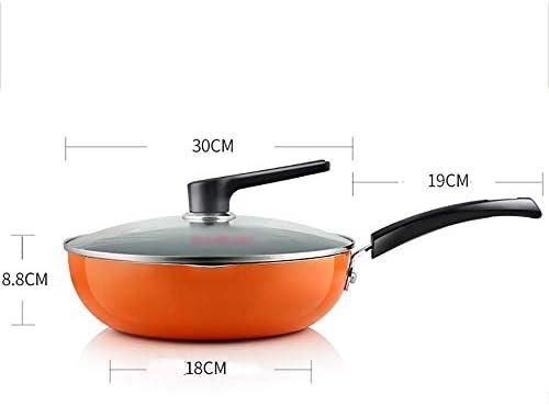 AXAA Poêle à Frire antiadhésive Orange Poêle à gaz Wok antiadhésive à Double Usage