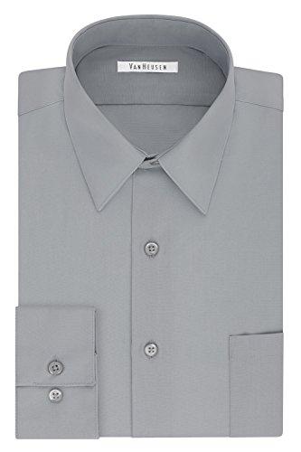 Big Tall Dress Shirts - Van Heusen Men's Tall Size Big Dress Shirt Fit Poplin, Grey Stone, 20
