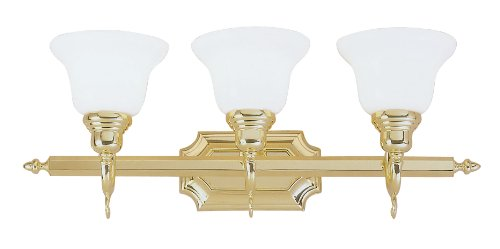 Livex Lighting 1283-02 Bath Vanity with White Alabaster Glass Shades, Polished Brass
